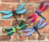 Set 4 coloured metal 29cm Dragonflies wall art decorations Dragonfly lover gift