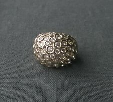 AUTHENTIC SOLID 925 STERLING SILVER HUGE DOME BLING DIAMANTE DRESS RING N