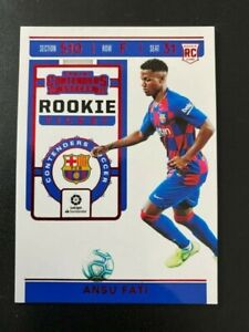 2019-20 PANINI CHRONICLES SOCCER CONTENDERS ROOKIE ANSU FATI RC RED WORD CARD