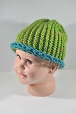 Lime Green & Teal Blue Hand Knit Hat Beanie Toddler Child 100% Acrylic