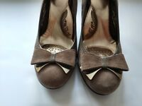 """Sofft 8M Womens Brown Suede Leather 3"""" High Heel Pumps Bow Comfort Career Shoes"""