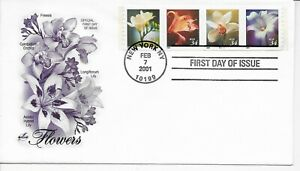 US Scott #3487-90, First Day Cover 2/7/01 New York Plate #B1111 Coil Flowers