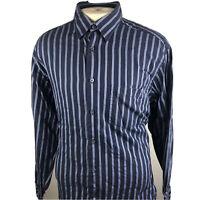 "Bugatchi Uomo Mens Blue Long Sleeve Button Front Shirt Size Xl ""P"""