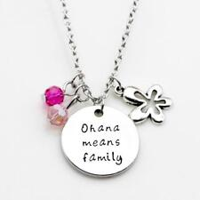 Ohana Means Family Necklace Engraved Charm Hibiscus Flower For Family Women Men