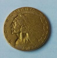 1913 Gold $2.50 Dollar Quarter Eagle  Free Shipping