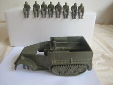 Vintage Marx Army Vehicle & 8 Men in Sitting Position Missing Tires