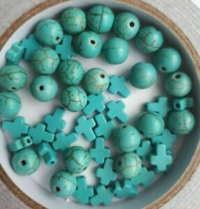 30 x Synthetic Turquoise Beads Round Cross Beads Jewellery Gemstone Mix UK