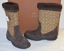 New $198 Coach Sherman Sig Suede/Sig C Chestnut/Khaki Winter Boots sz 6