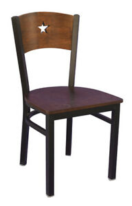 new wholesale price commercial restaurant  metal wood star back chair lot 20pcs