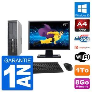 "PC HP 6305 Pro SFF Ecran 19"" AMD A4-5300B RAM 8Go Disque Dur 1To Windows 10 Wifi"