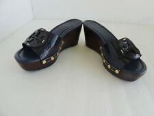 """TORY BURCH """"PATTI"""" NAVY BLUE PATENT LEATHER WEDGE SANDALS sz 5 M $275)"""