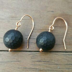 Rose gold filled earrings, beautiful matte finish onyx, handmade