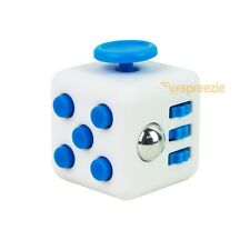White Blue Fidget Block Toy Anxiety Stress Relief Focus Attention Cube Square