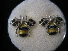 BEES FULL OF CZS STUD EARRINGS IN .925 STERLING SILVER 2 TYPES TO CHOSE FROM