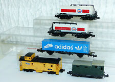 5x Güterwagen Spur N: Atlas Caboose, Trix Kessewagen, Containerwagen..