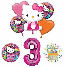 Hello Kitty 3rd Birthday Party Supplies and Balloon Bouquet Decorations