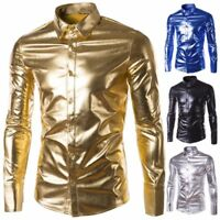 Men Shiny Wet Look Casual Shirt Long Sleeve Clubwear Party Dress Shirt Lapel Top