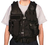 Military Style MOLLE Mach-1 AR Tactical Mesh Assault Vest w Belt - SWAT BLACK