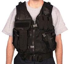 Military Style MOLLE Mach-1 AR Tactical Mesh Assault Vest w Belt - SWAT BLACK