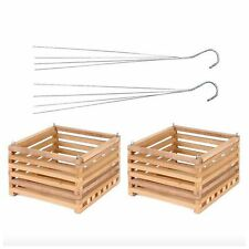 Wooden Hanging Planter Baskets Plant Flower Holder Hanger Box 2 Pack Planters