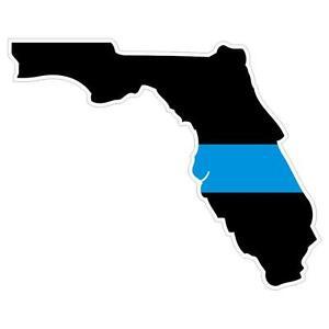 Florida FL State Thin Blue Line Police Sticker / Decal Made in U.S.A.