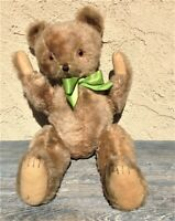 VINTAGE GERMAN LARGE BEIGE MOHAIR ROD JOINTED TEDDY BEAR FELT PAWS STITCHED NOSE