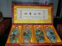 Vintage 4 Reverse Handpainted Snuff Bottles Mountains & Waters Of Four Seasons