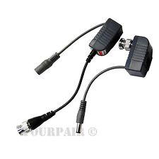 1 Pair CCTV Coax BNC Video & Power Pigtail Balun Transceiver Adapter to CAT5e 6