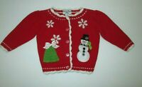 INFANT GIRLS HARTSTRINGS BABY RED SNOWMAN APPLIQUE CARDIGAN SWEATER SIZE 3-6 MON
