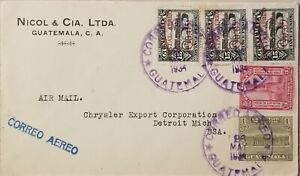 A) 1934, GUATEMALA, AIRMAIL, COVER FROM GUATEMALA TO MICHIGAN-UNITED STATES, PEN