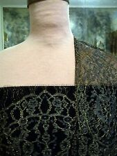 4panels FRENCH CHANTILLY LACE METALLIC GOLD OUTLINED PEWTER BORDERS ON BLACK NET
