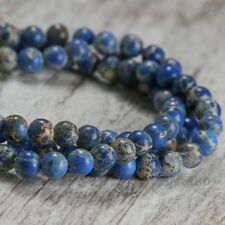 """Blue 8mm Regalite  Beads Round Natural Imperial Stone 15.5"""" Strand"""