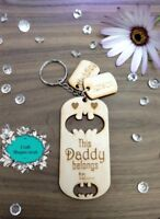 Personalised this daddy belongs to keyring, Christmas. Daddy, Dad, Grandad