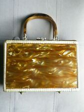 Clean - Vintage Plastic Lucite Wicker Purse - Made In Hong Kong - Free Ship