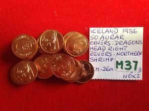 M37 Iceland; 25 Coins Lot: 50 Aurar 1986 Obvers: Dragons Head - Revers:N. Shrimp
