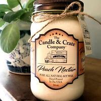 Peach Nectar, 16oz. Mason Jar, Handmade Soy Candles that smell AMAZING!