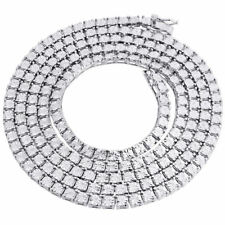 "White Diamond 1 Row Necklace Chain .925 Sterling Silver 36"" Bezel Set 1/3 CT."