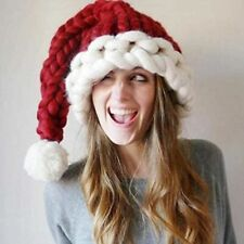 New Santa Claus Hat Knitted Christmas Hat Soft Wool Knitted Christmas Hat Red