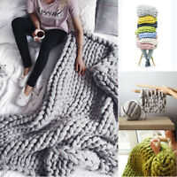 Handmande Chunky Knit Blanket Thick Yarn Merino Throw Bed Sofa Decor 100x120cm