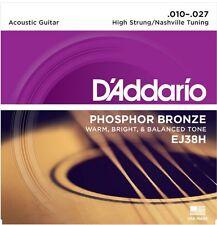 D'Addario EJ38H Phosphor Bronze Acoustic Guitar Strings Nashville Tuning 10-27