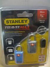 Stanley Luggage bag padlocks 20 mm Travel Sentry Approved  Pkt of 2 locks.