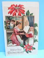 VTG 1900's NOS - EMBOSSED  POINTSETTIA PC. WOMAN & GIRL SANTA LOOKING IN WINDOW