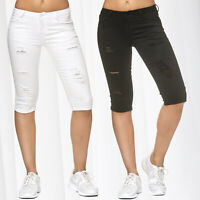 Ladie's Jeans 3/4 Capri Pants Used Destroyed Cracks Hole Bermuda Trousers Shorts