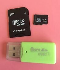 16GB Micro SD SDHC Flash Memory Card + Adaptor +USB Card Reader Class 10 New