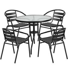 31.5'' Round Indoor-Outdoor Restaurant Table Set with 4 Black Aluminum Chairs