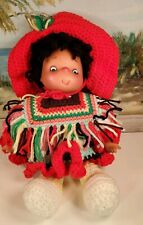 "Handmade Doll Mexican Handmade Crochet Dress Sombrero Poncho 13"" in Darling!"