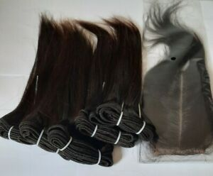 5Bundles+closure  unprocessed Virgin Human hair.(10')x5+1in darkbrown #2