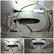 CLASSIC VINTAGE RETRO Style Clear Lens EYE GLASSES Silver Octagon Fashion Frame