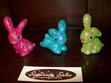 "New Set Of 3 Plastic Glitter Easter Bunnies 2"" to 3"" Sitters Table Decoration"