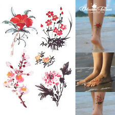 Conjunto realista Tatuaje Temporal-Flores De Tinta China X5-Para Mujer, Niños, falsos